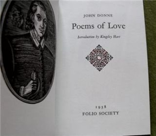 1992 John Donne Poems of Love Folio Society Book Slipcase