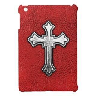 Metal Cross on Red Leather iPad Mini Case
