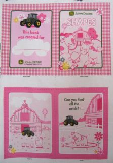 John Deere Pink Shapes Farm Cute Soft Book Kit 100 Cotton Fabric Panel Nursery
