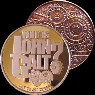 1 oz Copper Bullion John Galt Atlas Shrugged Round 999 Fine Amagi Metals