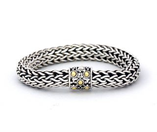 John Hardy Sterling Silver 18K Gold Woven Bracelet Authentic Heavy