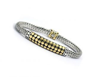 John Hardy Sterling Silver 18K Gold Dots Woven Bracelet Authentic