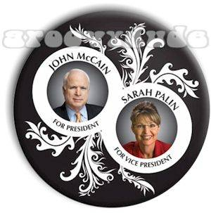 John McCain Sarah Palin 2008 President Campaign Pin Button Pinback Badge Scroll
