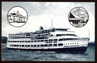 Wilson Line George Washington Potomac River Cruise Washington DC Postcard 1950s