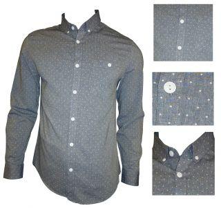 Mens Casual John Tungatt Designer Blue Polkadot Shirt Large
