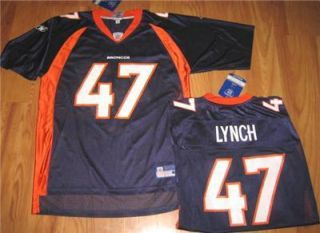 Reebok Denver Broncos John Lynch Jersey NFL on Field XL New Blue Free US SHIP