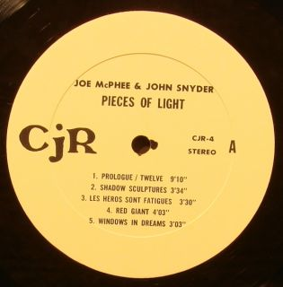 Joe McPhee John Snyder Pieces of Light Orig Free Jazz LP Vinyl Signed