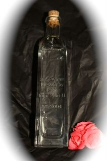 Blessed by Pope John Paul II Holy Water COA Big Exclusive Engraved Bottle