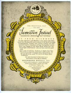 Hotel John Marshall Menu Richmond Virginia Jamestown Festival 1957 |
