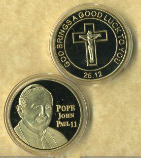 POPE JOHN PAUL II 24 KT GOLD COIN GOOD LUCK NEW BH