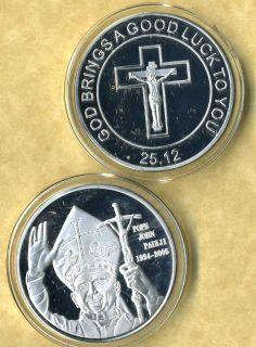 POPE JOHN PAUL II SILVER COIN GOOD LUCK NEW FV