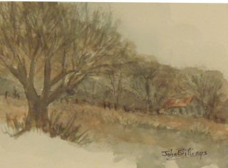 John Billings watercolor original farm scene 5x7 painting art summer color