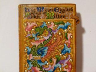 Antique 1903 Book MINOR ENGLISH POEMS John Milton Illuminated Painted Gilt Gesso