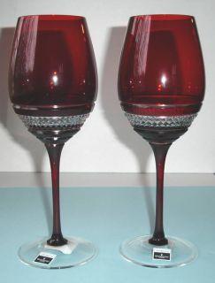 Waterford John Rocha Voya Red Wine Glasses Pair Red Crystal New in Box