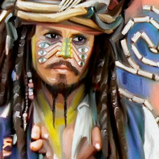 PIRATES of CARIBBEAN Jack Sparrow Depp painting CANVAS ART GICLEE PRINT Medium