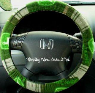 Car Steering Wheel Cover Soft Green John Deere Print