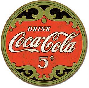 "Metal Tin Sign Coke Round 5 Cents 11 75"" Dia Made in The USA Coca Cola"