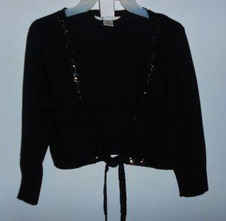 John Paul Richard Black Silk Blend Shrug with Sequins Sz Medium