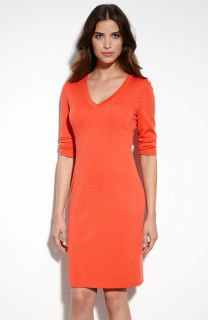 St John Collection V Neck Coral Milano Knit Dress NEW 6