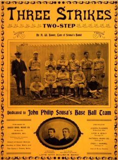 Sousa Band Baseball Team Sheet Music Cover John Phillips Music Decor Print 805