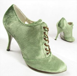 "Dolce Gabbana ""Baroque"" High Heels Ankle Boots Shoes Heels Velvet Green"