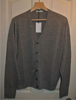 John Smedley Daimler Cardigan Silver Grey LARGE Brand New With Tags RRP 160