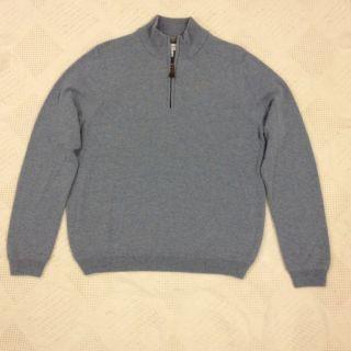 Mens John w  100 Cashmere Sweater L Large Light Blue 1 4 Zipper Front