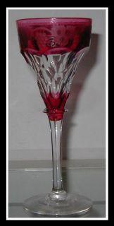 RARE Signed Antique John Walsh Red Glass Wine Stem