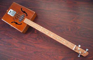 Red Dog Cigar Box Guitar 3 string Slide Dobro Folk Bottleneck Blues