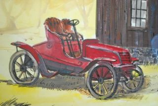 E John Robinson Winton Antique Car Watercolor Painting RARE 1960