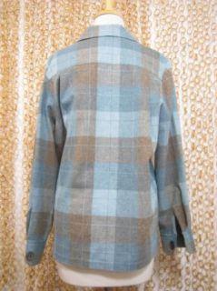 Pendleton Womens Teal Plaid 49'ER Classic Cut 100 Virgin Wool Jacket Sz XS $178