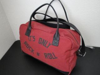 New John Varvatos Star USA Red It's Only Rock N Roll Canvas Leather Duffle Bag