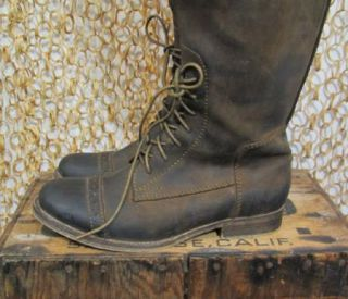 Jeffrey Campbell Womens Brown Leather Ridem Lace Up Distressed Boots 8