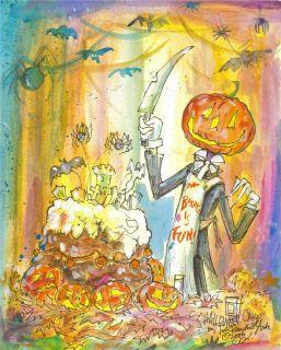 Bake A Halloween Cake Halloween King Pumpkin Jack Signed Print by John R York