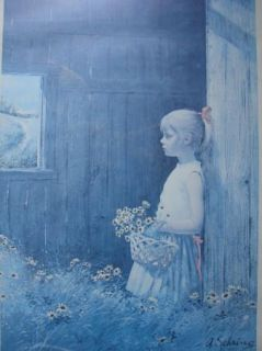 """A Sehring """" Reflectiing """" Vintage Print Framed 1974"""