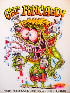 Johnny Ace Art Airbrushed T Shirt Rat Fink Ed Big Daddy Roth Monster Get Punched