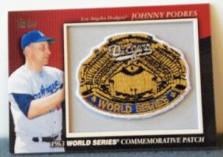 2010 Topps Johnny Podres Throwback Patch Card 1963 World Series Baseball