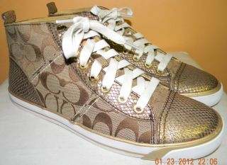 New Coach Indiana Khaki Signature Bronze Snake Skin Embossed Sneakers Sz 8 5 M