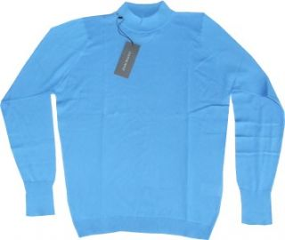 New Mens John Smedley Oxford Turtle Neck Pullover Jumper Sweater Pool Blue S