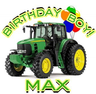 John Deere Tractor Birthday Boy Personalized T Shirt Design Decal New