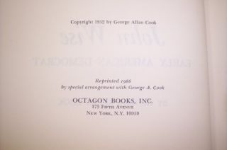John Wise Early American Democrat Octagon Press HB 1966