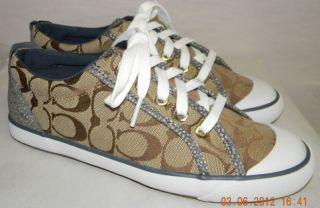 New Coach Barrett Khaki Pebble Leather Signature C Sneakers Shoes Sz 8 A1085