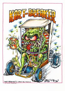Johnny Ace Original Monster Art Rat Fink Ed Big Daddy Roth Go Kart Hot Rod Race