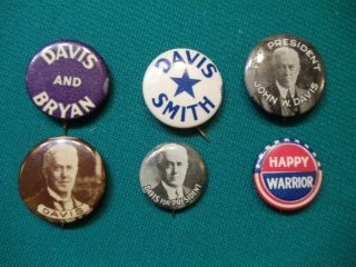 1924 John w Davis Pin Button Collection Al Smith Included