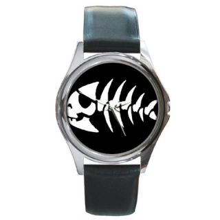 Jolly Rancher Pirate Fish Silver Watch Black Leather