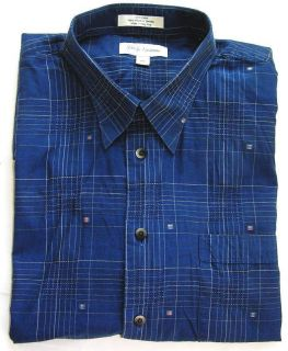 John w  Mens Blue Windowpane Short Sleeve Dress Shirt XXL 2XL Excellent