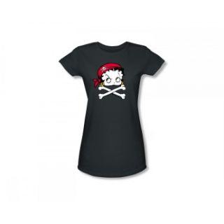 Betty Boop Pirate Jolly Roger Skull Cartoon Classic Juniors T Shirt Tee