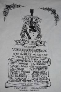 JOHNNY THUNDERS VERY RARE Memorial Benefit T Shirt Pin Flyer 1991 NYC LAMF