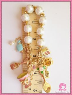 Betsey Johnson Tea Party Fork Spoon Cake Cup Crystal Pearl GD Bracelet
