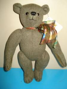 Cashmere Wool Canterbury Sage Green Jointed Teddy Bear 25cm Tall